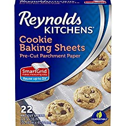 Image of a box of Parchment paper. text reads Reynolds Kitchens cookie baking sheets.
