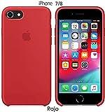 Funda Silicona para iPhone 8 iPhone 7, SE 2ª generación, Silicone Case Calidad, Textura Suave, Forro Interno Microfibra (Rojo)
