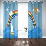 Cortinas 2 paneles de dibujos animados lindo papel cortado paisaje marino barco de vapor con arco iris de colores por The Sea Panorama Land Origami Art Paneles de cortina de ventana para sala de estar
