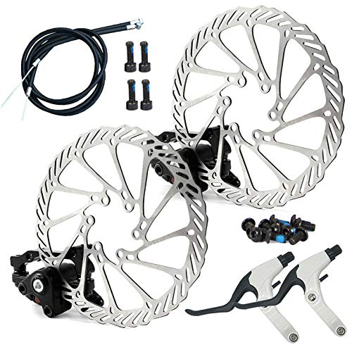 Kit Freno a Disco Meccanico, Pinza Freno Anteriore in Lega di Alluminio Leva del Cambio Cavo del freno Rotore Cavo del Deragliatore per Bici da Strada G3 MTB (White)