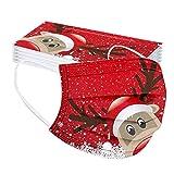 Erwachsene 20 Stücke Einweg Mundschutz Mund Nasenschutz Mit Weihnachten Motive 3 Lagig Atmungsaktive Mund-Tuch Bandana Halstuch Schals für Damen Männer (Color 7)