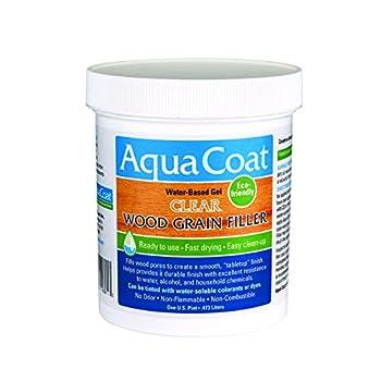 Aqua Coat Best Wood Grain Filler Clear Gel Water Based Low odor Fast Drying Non Toxic Environmentally Friendly  Pint