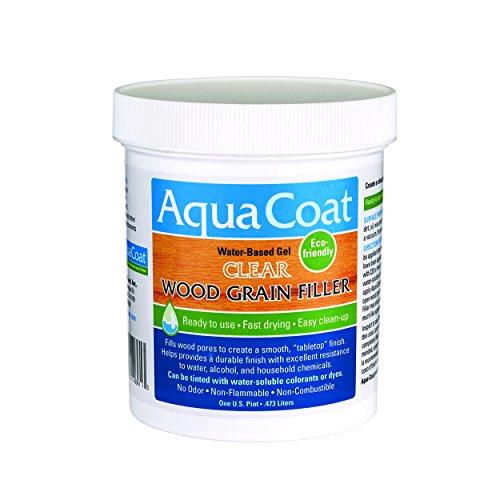 Aqua Coat, Best Wood Grain Filler. Clear Gel, Water Based, Low odor, Fast Drying, Non Toxic, Environmentally Friendly (Pint)