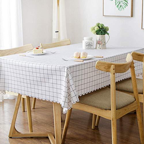 Kuingbhn Mantel Lavable Rectangular Resistente Al Agua PVC Simple Fácil de Limpiar para Jardín Habitaciones decoración de Mesa Blanco 120 × 120cm