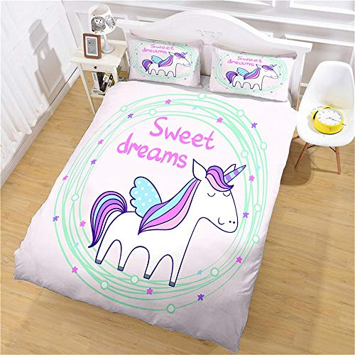 PERFECTPOT King Size Duvet Cover Set Cartoon Unicorn Bedding Quilt Set with 2 Pillowcases in Polyester with Zipper Closure, 1 Duvet Cover 230x220 with 2 Pillowcases for Children Adults