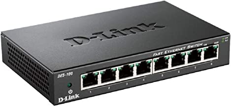 D-Link DES-108 8-Port Layer2 Fast Ethernet Switch Metall (10/100 Mbit/s, einfache Plug..