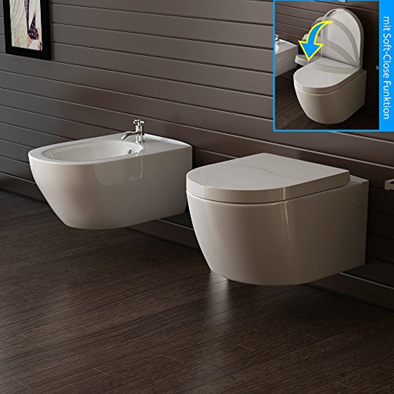Hnge Keramik WC und Bidet Wand WC Toilette inkl. WC-Sitz Soft Close Bad