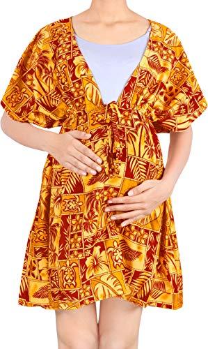 LA LEELA Damskie owijki plażowe z nadrukiem i okrycie damskie boho sukienka plażowa z krótkim rękawem boho sznurek stroje kąpielowe na wakacje stroje plażowe bikini luźny strój kąpielowy krwisto czerwony_O232