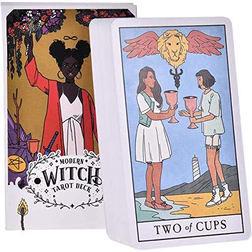GXLO Moderne Hexe-Tarot-Karten Horoskop-Vorhersagegric-Spielkarten 78 Blätter Brettspielkarte für Erwachsene und Kinder Englische Version