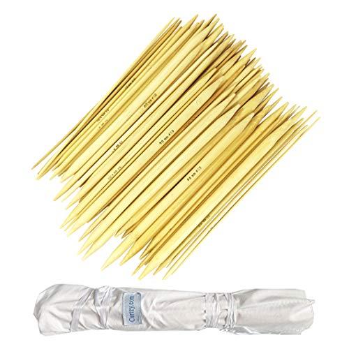 Curtzy Aguja de Punto de Bambú 80 Pedazo - 2mm a 12mm Agujas de Doble Terminación con Bolsa de Almacenamiento para Sombreros, Calcetines, Guantes y Proyectos de Tejido, Principiantes y Profesionales