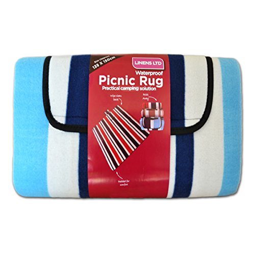 Linens Limited - Couverture de Pique-Nique - Polaire - résiste à l'eau - Rayures - Bleu - 135 x 150 cm