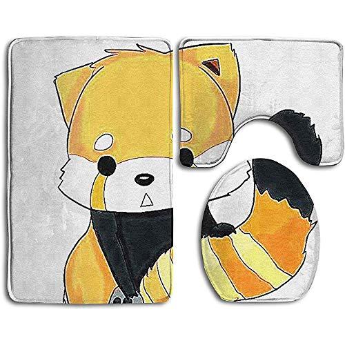 Anna-Shop Cartoon Foxes Print Badmat Set 3-delige, anti-slip badmat + toiletbrilhoes + contourmat