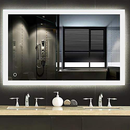 Espejo baño, Espejo baño con luz, Interruptor táctil, Luz Blanca fría, función antivaho, Suspensión Vertical/Horizontal