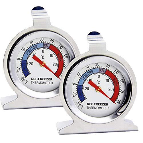 ISKM Kühlthermometer 2 Stück Kühlschrankthermometer Gefrierthermometer Edelstahl Klein mit Aufhängehaken und Ständer kühlschrank thermometer (2 Pack)