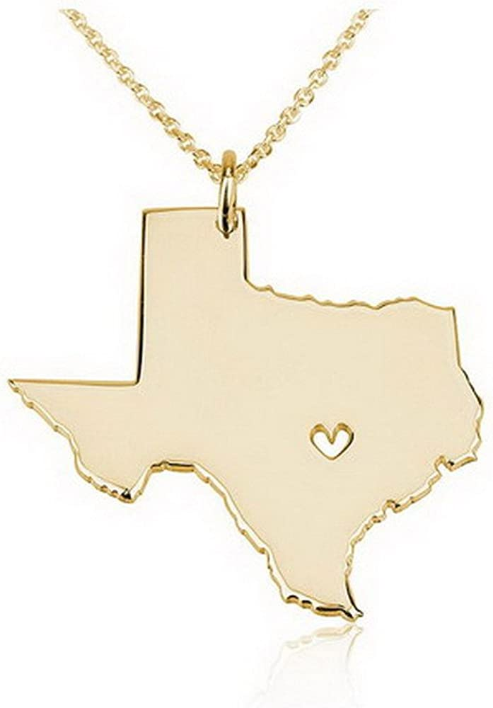 TEXAS State Necklace Stainless Steel Charm with Heart Cutout on a FREE Cable Chain