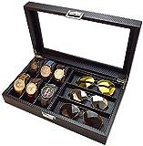 Scatole decorative Glasses Glasss Display Case Eyewear Occhiali da sole Box Cassa di stoccaggio Organizzatore Guarda Gioielli Box Protector Holder Box (Colore: Nero, Dimensioni: 35.5x21.2x8cm) Jialele