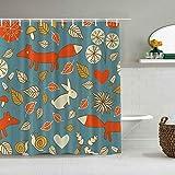 N\A Duschvorhang Blumen Füchse Hasen Schnecken Zeichnung wasserdichte Badvorhänge Haken enthalten - Badezimmer Dekorative Ideen Polyester Stoff Zubehör
