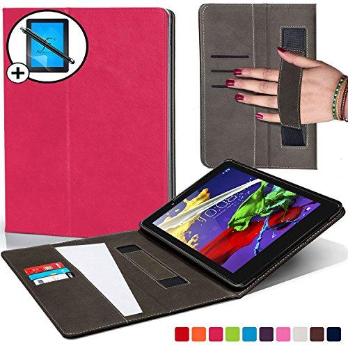 Forefront Cases Lenovo Tab 3 8 / Tab 2 A8-50 Hülle Schutzhülle Tasche Smart Case Cover mit Handschlaufe - Extra Robust R&um-Geräteschutz - Smart Schlaf Wach + Stift und Bildschirmschutz (DUNKEL ROSA)