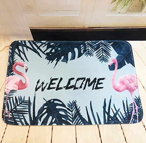 GjbCDWGLA Flamingo Badmat met donkergroene bladeren antislip absorberende badmat superzacht, duurzaam badkamertapijt 50 * 80 cm