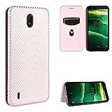 SHUFEIVICC pour Nokia C2 Fibre de Carbone Texture Magnétique Horizontal Horizontal TPU + PC + étui...