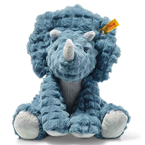 Steiff 087806 Original Plüschtier Dixi Triceratops, Soft Cuddly Friends Kuscheltier ca. 28 cm, Markenplüsch mit Knopf im Ohr, Schmusefreund für Babys von Geburt an, Petrol