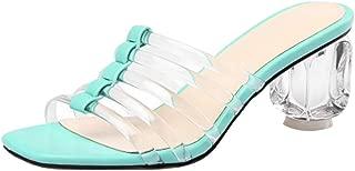 BeiaMina Women Chic Transparent Mules Block Heel Sandals Slip On