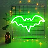 Luz de neón murciélago decorativo murciélago en forma de letreros de neón decoración de pared led luz de noche para la decoración de la sala de cumpleaños infantil verde