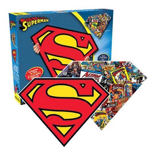 AQUARIUS Superman Logo 2Cara, diseño con la Forma de Puzzle (600Piezas)