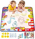 KIZZYEA Water Doodle Mat, Kids Large Aqua Coloring Mat, Mess-Free Drawing Mat with Neon Colors,...