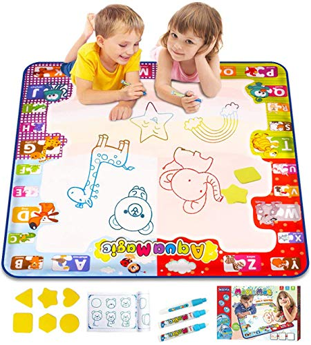 KIZZYEA Water Doodle Mat, Kids Large Aqua Coloring Mat, Mess Free Drawing Mat with Neon Colors, Educational Toy for 3 4 5 6 Years Old Kids,Toddlers,Boys,Girls