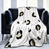Ultra Soft Micro Fleece Durable Leopard Metallic Animal Print Black Gold Throw Blankets Soft Warm Blanket Sheet for Bed Bedding Sofa Office Living Room Home Decor 60'X50'