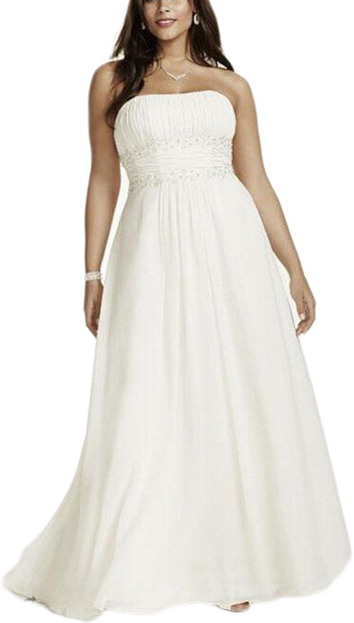 Veilace Women's Plus Size Chiffon Empire Waist Gowns with Appliques Wedding Dress Beaded Sash Bridal Dress