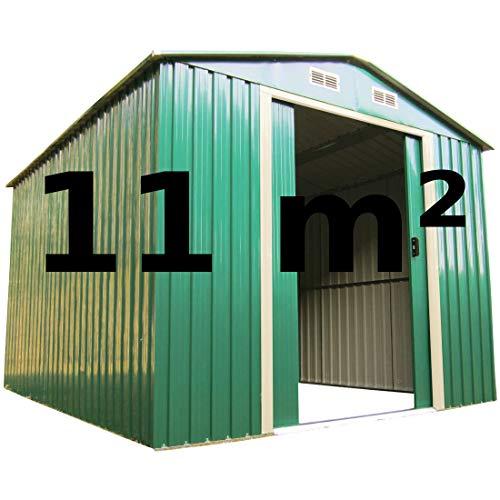 ASS Geräteschuppen Gartenhaus 11m² 3x3,65m aus verzinktem Stahlblech Metall grün