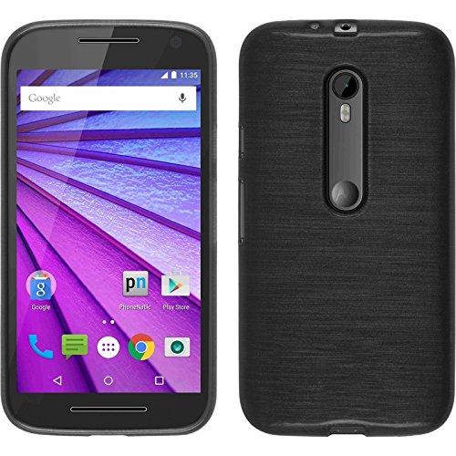 PhoneNatic Hülle für Motorola Moto G 2015 3. Generation Hülle Silikon Silber Brushed Cover Moto G 2015 3. Generation Tasche + 2 Schutzfolien