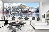 YCRY-壁紙3D雪の湖の風景 -壁の装飾-ポスター画像写真-HD印刷-現代の装飾-壁画-280x200cm