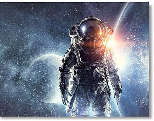 Space Canvas Wall Art Astronaut Decor Outer Space Themed Bedroom Decor Modern Manly Wall Art product image