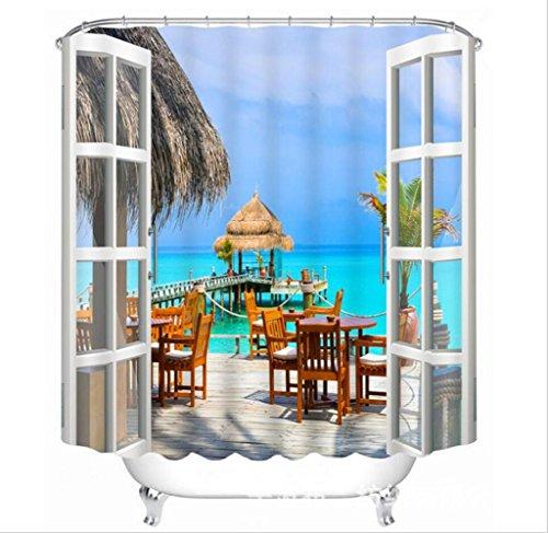 KKLL 3D Fenêtres fausses Hawaï Cottage Espace visuel Impression numérique Tissus en polyester Salle de bain décorée Épaisseur Imperméable et moisissure Rideaux de douche , 165*180cm