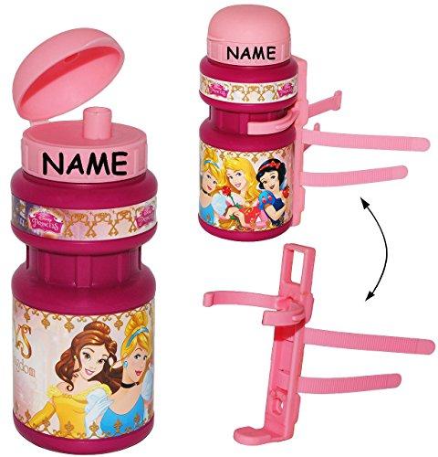 alles-meine.de GmbH Fahrradtrinkflasche -  Disney Prinzessin  - incl. Name - mit Halterung - Arielle Rapunzel Froschkönig Princess - Halter für Kinder Fahrradflasche Fahrrad Tr..