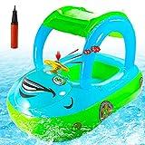 FORMIZON Flotador de Natación para Bebés, Anillo de Natación Inflable Asiento para Bebe con Bomba Manual y Toldo, Carro Flotador de Piscina Inflable Anillo de Seguridad para Bebés 12 a 36 Meses(C)
