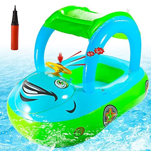 FORMIZON Anello da Nuoto per Bambini, Auto Seggiolino Piscina con Tettuccio Parasole, Salvagente Neonato Anello da Nuoto Gonfiabili, Baby Float...