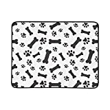 Dog Bones Paws On White Background Pattern Portable and Foldable Blanket Mat 60x78 Inch Handy Mat for Camping Picnic Beach Indoor Outdoor Travel