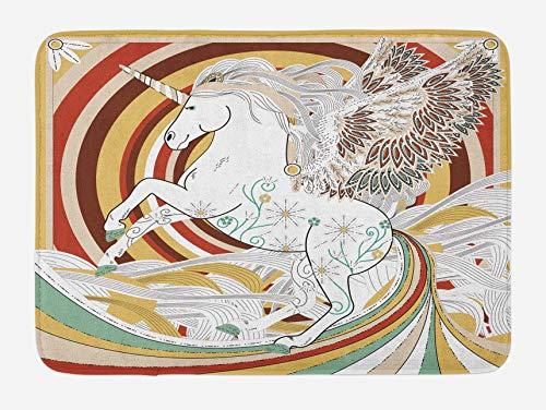 Alfombrilla de baño de unicornio, gráfico de la cultura del arte pop de alas de ángel de unicornio en una obra de arte de fondo en espiral, alfombra de decoración de baño de felpa con respaldo antides