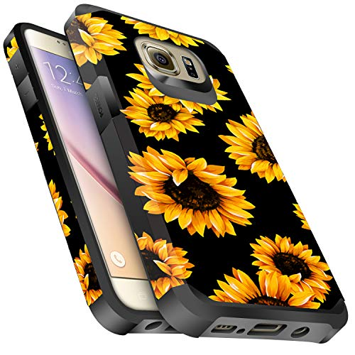 Galaxy S6 Case, Miss Arts Slim Anti-Scratch Protective Kit with [Drop Protection] Heavy Duty Dual Layer Hybrid Sturdy Armor Cover Case for Samsung Galaxy S6 -Sunflower/Black