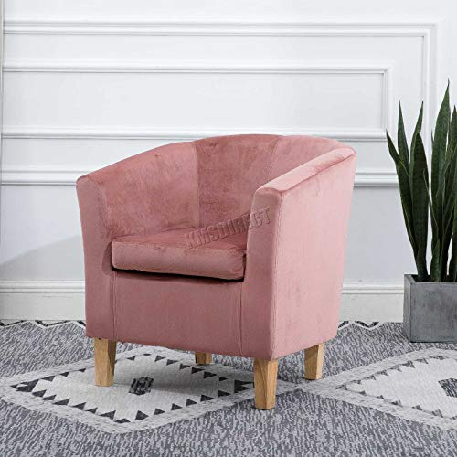 WestWood Modern Velvet Fabric Tub Chair Armchair Lounge Dining Living Office Room Home Furniture TC12 Pink New