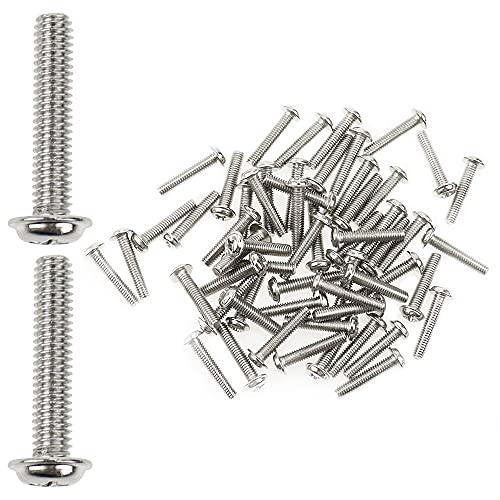 YPLonon M4 - Tornillos para pomos de puerta (60 unidades, niquelados, 4 x 20 mm, tornillos de fijación para cocina, dormitorio, cajón, gabinete