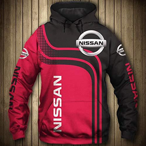 BINGFENG Herren Pullover Sweatshirtjacke Geeignet Für Nissan 3D-Druck Hoodie Sweater Fan Jersey Sportswear A-L