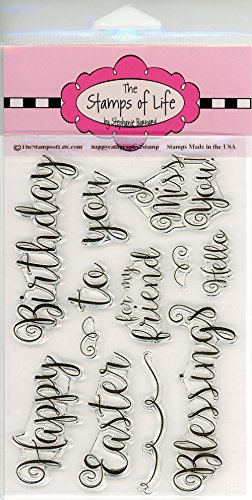 Script Font Calligraphy Sentiment Stamps for Card-Making and Scrapbooking Supplies by The Stamps of Life - HappyCalligraphy2Stamp