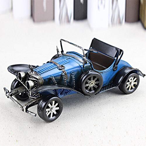 Ayhuir Vintage hecho a mano clásico modelo de coche adornos hierro artesanía vehículo figuras retro coche miniatura bar muebles niños juguetes regalos azul