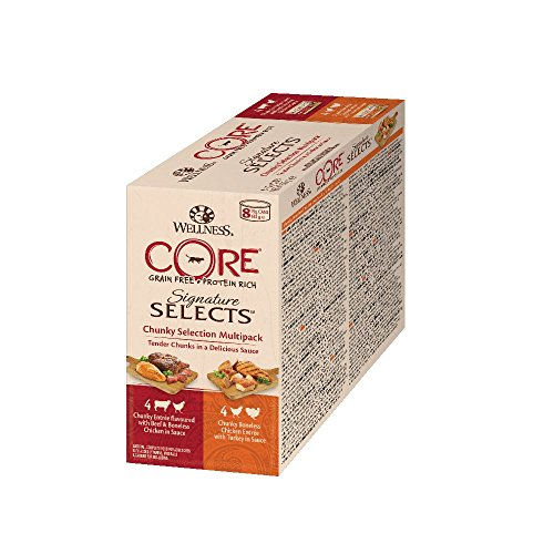 Wellness CORE Signature Selects / Katzenfutter Nass / Getreidefrei / Hoher Fleischanteil / Chunky Selection Mix, 8 x 79 g Dosen