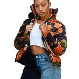 Sinifer Unisex Fashion Camouflage Lightweight Bread Down Jacket Chevron Quilted Zipper Plus Size Coat with Pockets for Men/Women(Orange S)